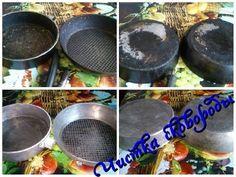 Чистка сковороды (алюминиевой и чугунной) от нагара снаружи и внутри - YouTube