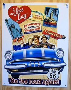 Tin Sign Lucy  On the Road Again *** Click image to review more details. Note:It is Affiliate Link to Amazon.