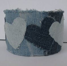 Recycled denim jean heart bangle light / by GirlyStuffByDeJaVu, $12.00