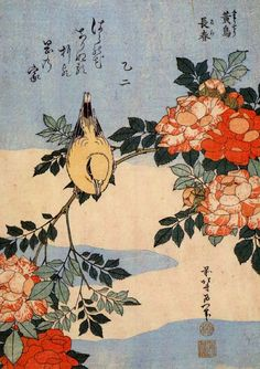 Roses and bird by Katsushika Hokusai 1760-1849, , Japan