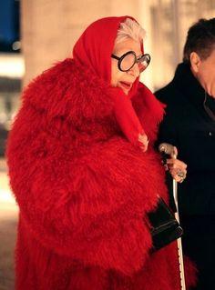 Iris Apfel. Red fur.