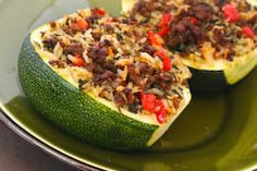 Kalyn's Kitchen®: Stuffed Zucchini Recipe with Brown Rice, Ground Beef, Red Pepper, and Basil