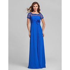 vestido de la dama de honor una línea de cuadrados de gasa hasta los pies y encaje (810020) - EUR € 73.99