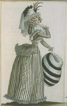 Magasin des Modes, Mars 1789 Pierrot jacket. Lovely fashion plate, and she has a muff one of my favourite accessories.