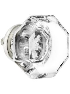 Glass Cabinet Knobs. Octagonal Clear Glass Knob With Brass Base