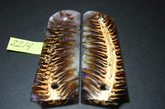 FIT CAST PINECONE Purple clear PEARL FULLSIZE 1911 GRIPS Wood Mag 8rd Government #206grips
