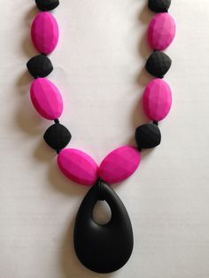 Pink/Black teething necklace