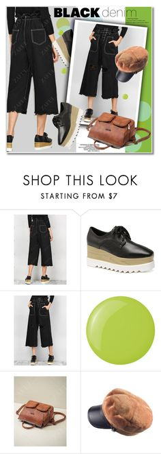 """Black Denim"" by svijetlana ❤ liked on Polyvore featuring Essie"