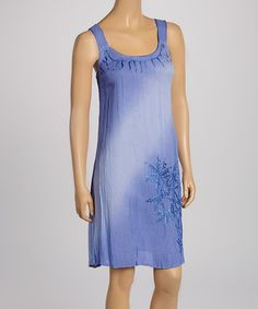 Love this Periwinkle Palm Tree Embroidered Sleeveless Dress - Women by Raya Sun on #zulily! #zulilyfinds