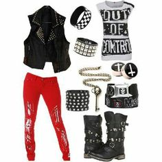 Polyvore outfit - not a fan of the red trousers unfortunately