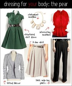 Dressing a pear shape body Pear Shaped Dresses, Pear Shaped Outfits, Mode Outfits, Fashion Outfits, Fashion Tips, Pear Shape Fashion, Triangle Body Shape, Pear Shaped Women, Pear Body