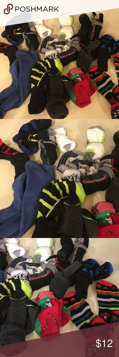 16 pairs boy socks Boys socks. All good pre-owned condition some like New some worn couple times fits size 6-8. 16 pairs in all. Some athletic some dress some casual Accessories Socks & Tights
