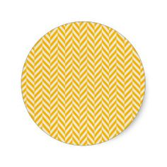 Yellow White Zig Zag Chevron Pattern Round Stickers