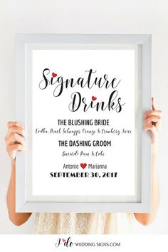 Wedding Bar Menu Sign Printable Wedding Menu Wedding Template