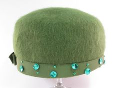 Olive Green Mohair Ladies Hat - Vintage Items for Sale - The Vintage Village