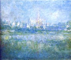 "artist-monet: "" Vetheuil in the Fog by Claude Monet Size: cm Medium: oil on canvas"" Monet Paintings, Impressionist Paintings, Landscape Paintings, Claude Monet, Pierre Auguste Renoir, Camille Pissarro, Artist Monet, Art Story, Water Lilies"