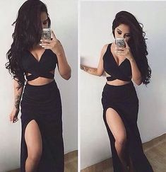 2 Piece Prom Gown,Two Piece Prom Dresses,Black Evening Gowns,2 Pieces Party Dresses,Formal Dress For Teens