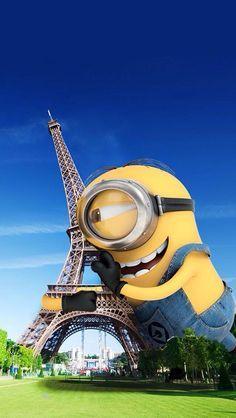Minions in Paris - minions. Minion Banana, Minion S, Cute Minions, Minions Despicable Me, Minions Cartoon, Funny Minion, Cartoon Wallpaper, Disney Wallpaper, Minion Wallpaper Hd