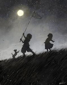 Would love to have something like this with silhouette of my 5 kids catching fireflies or something. Catching Fireflies, Summer Dream, Summer Fun, Summer Time, Art Graphique, Moon Art, Children's Book Illustration, People Illustration, Book Illustrations