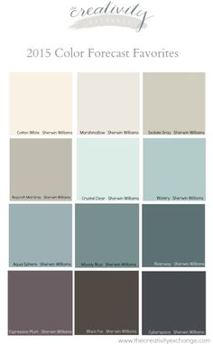Favorites from the 2015 Paint Color Forecasts Favorite colors from the 2015 paint color forecasts. The creativity stock market Favorites from the 2015 Paint Color Forecasts Favorite colors from the 2015 paint color forecasts. Interior Paint Colors, Interior Design, Interior Painting, My New Room, Colour Schemes, Color Trends, Paint Schemes, Color Pallets, House Painting