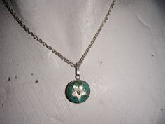 """Vintage silvertone round turquoise stone star pendant and 16"""" chain Listing in the 1950s-1970s,Antique & Vintage,Jewellery & Watches Category on eBid From Calliehay"""