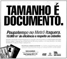Anúncio da inauguração do Poupatempo Itaquera em 18 de novembro do ano 2000