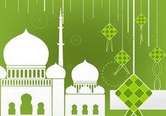 Flat design of Ketupat and Mosque Eid Mubarak Vector, Eid Mubarak Card, Ramadan Background, Paper Background, Eid Card Designs, Mosque Vector, Wallpaper Wa, Ramadan Lantern, Ramadan Greetings