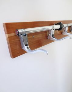 Bicycle Coat Rack with Reclaimed Wood and Recycled Bicycle Parts, Bicycle Accessories, Bicycle Jewelry, Wall Hanging Coat Rack A sharp
