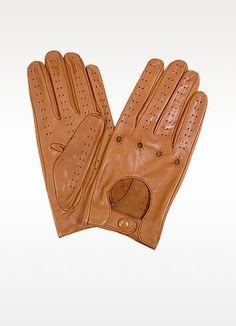 Men's Tan Italian Leather Driving Gloves - Forzieri Leather Driving Gloves, Leather Gloves, Lambskin Leather, Soft Leather, Mens Gloves, Ladies Gloves, Italian Fashion, Over The Knee Boots, Italian Leather