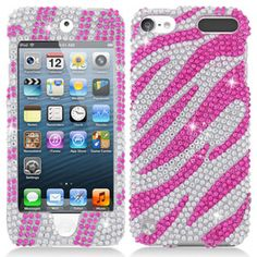 Pink Zebra Bling Hard Case Cover For Apple iPod Touch 5 5G 5TH GEN Accessory