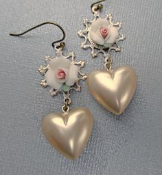Valentines Day Gift  Heart Earrings  Flower by ParisienneGirl, $21.00