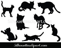 Cats Silhouette Vector Download Eight Cat Silhouette