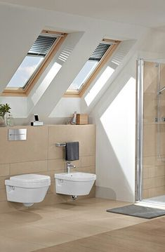 Bath under a sloping roof - Clever use of space - Villeroy & Boch Bathroom Inspo, Bathroom Inspiration, Modern Bathroom, Small Bathroom, Bad Inspiration, Home Renovation, Small Spaces, Building A House, House Design