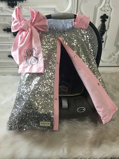Silver sparkle car seat canopy with bow and name / carseat