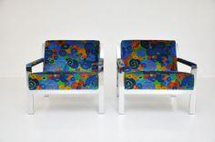 jack lenor larsen   Chrome Lounge Chairs in Jack Lenor Larsen velvet at 1stdibs