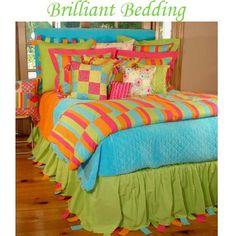 Kids bedding, bed sets for teen girls, brightly colored teens bedrooms, designer linens, lime green, turquoise, hot pink, orange