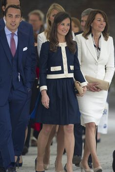 Red, white and blue: The Middletons looked to have honoured the colours of the Union flag as they arrived at Imperial Wharf, Chelsea, earlier today to board the vessel
