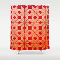 Fire Shower Curtain by Gréta Thórsdóttir - $68.00  #scandinavian #snowflake #heat, #passion #red #gold #pattern #bathroom