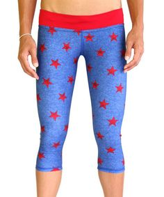For the Wonder Woman in all of us! Love this Red & Blue Patriot Kini Sport Capri Leggings by Mahiku on #zulily! #zulilyfinds