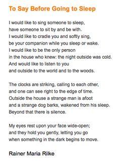 Rainer Maria Rilke :: To Say Before Going to Sleep