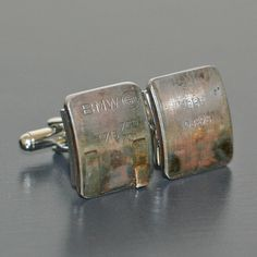 BMW Car Engine Part CUFFLINKS - with stamped BMW letters and part numbers. Made from salvaged piston bearings. Bmw Engines, Engine Pistons, Bmw Love, Bmw Parts, Mocca, Car Engine, Bmw Models, Car Manufacturers, Silver Cuff