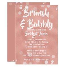 Brunch & Bubbly Bridal Shower Invitation Rose Gold - gold wedding gifts customize marriage diy unique golden