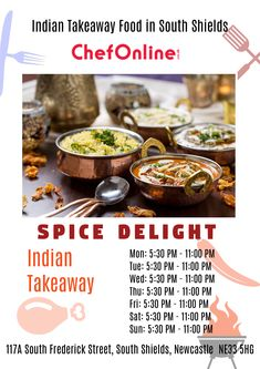 Spice Delight offers delicious Indian Food in South Shields, Newcastle Upon Tyne Browse takeaway menu and place your order with ChefOnline. Kingston Upon Thames, Newcastle, Indian Food Recipes, A Table, Spices, Menu, Delivery, Restaurant