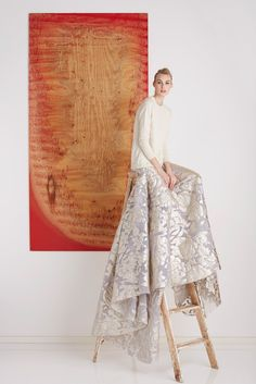 For the casual bride: try out this boxy ivory sweater and daring cathedral-length shimmery jacquard skirt from Lela Rose Pre-Fall 2015