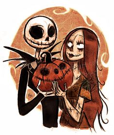 Jack_Sally_pumpkin by ElisEiZ on DeviantArt Sally Skellington, Deviantart Disney, Rock Painting Supplies, Easy Animals, Painted Rocks Kids, Wedding Tattoos, Jack And Sally, Couple Art, Disney Fan Art