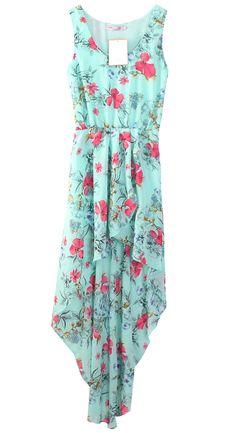 Light Blue Bohemia Floral Sleeveless Chiffon Asymmetrical Dress US$69.00