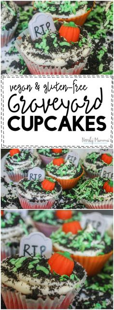 Graveyard Cupcakes {Bubble Gum Cupcakes for Zombies - Nerdy Mamma Halloween Food For Party, Halloween Cupcakes, Easy Halloween, Halloween Treats, Halloween Baking, Halloween Chocolate, Fall Treats, Halloween Activities, Halloween 2016