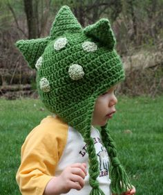 Dinosaur Dragon Hat crochet-kids I made a hat like this and it turned out dinosaurific :).
