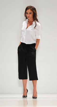 Victoria Beckham shows RTW Spring/Summer 2014 collection at NYFW - white shirt - three quarter trousers - handbag.com