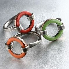 Lifesaver Enamel Ring, Made to Order in US Sizes 6 to 9, Tangerine Orange Glass Enamel and Sterling Silver. $80.00, via Etsy.